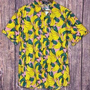 NWT Jogal Banana Hawaiian novelty button front top